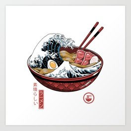 Great Ramen Wave White Art Print