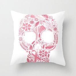 Pink Skull Survivor Throw Pillow