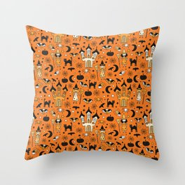 Halloween Witch House Throw Pillow