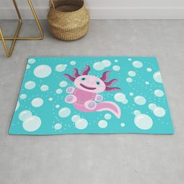 Toy Axolotl and The Bubbles Rug