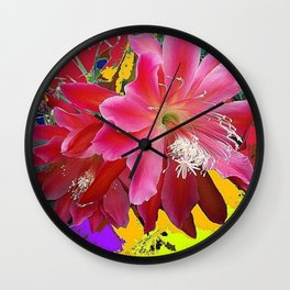 Fuchsia Pink Orchid Cacti Flower Wall Clock