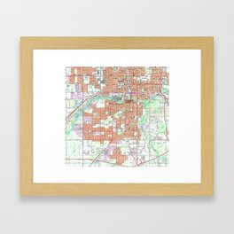 Vintage Map of Lansing Michigan (1965) Framed Art Print