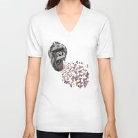 butterflies V-neck T-shirts featuring Butterflies by Paula Belle Flores