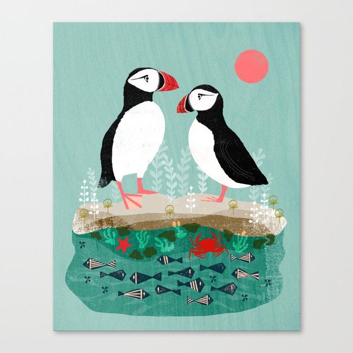Puffins - Bird Art, Shorebird, Sea bird, birds, Cute illustration by Andrea Lauren Canvas Print