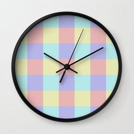 Plaid Blue Soft Yellow Rose Blush Lavender Cyan Tetradic Colour Blocks Wall Clock