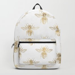 Chic Gold and White Bee Patten Backpack
