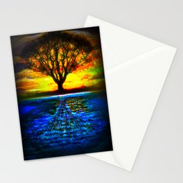 Duality Tree of Life Reflection Moon & Sun Day & Night Painting by CAP Stationery Cards