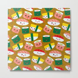 pattern Kawaii funny sushi set with pink cheeks and big eyes, emoji on brown mustard background Metal Print