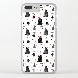 Christmas black and white animals Clear iPhone Case