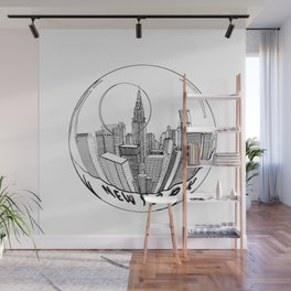 THE CITY of New York in a Suspended Bowl . Artwork Wall Mural