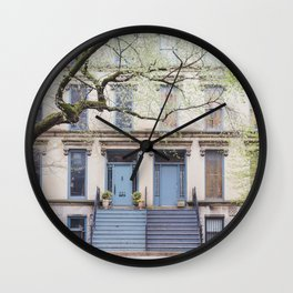Blue Doors - Chicago Architecture Photography Wall Clock