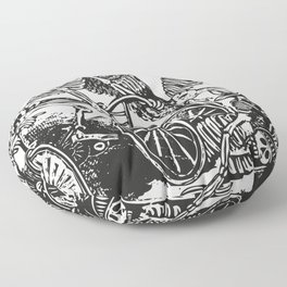 Calavera Cyclists | Day of the Dead | Dia de los Muertos | Skulls and Skeletons | Vintage Skeletons | Black and White |  Floor Pillow
