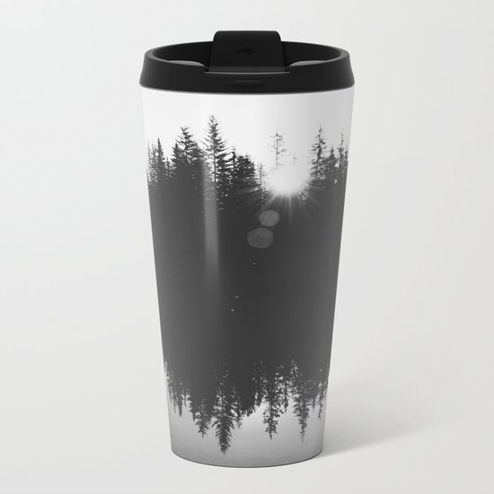 Wooded Lake Reflection Black and White Metal Travel Mug