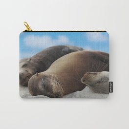 Galapagos Sea lions family sleeping on beach Carry-All Pouch