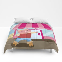 a pig chopping  Comforters