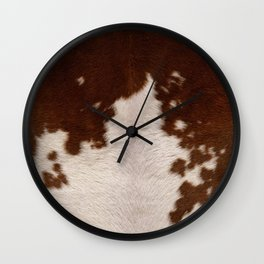 brown cowhide Wall Clock