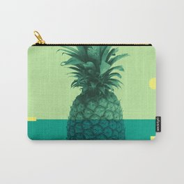 Pineapple Print - Tropical Decor - Botanical Print - Pineapple Wall Art - Blue, Teal, Aqua - Minimal Carry-All Pouch
