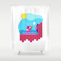Teeny Tiny Worlds - Super Mario Bros. 2: Birdo Shower Curtain