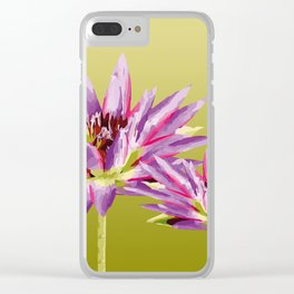 Water Lilies violet green Clear iPhone Case