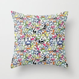 Color Swarm:  A Rainbow of Bees Throw Pillow