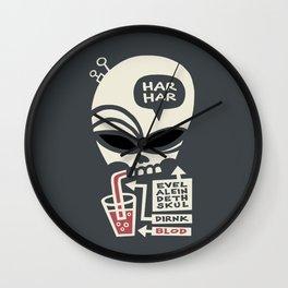 Evel Alein Deth Skul Dirnk Blod Wall Clock