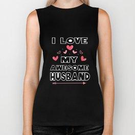 Couple T-Shirt I Love My Awesome Husband Tee Wife Gift Biker Tank
