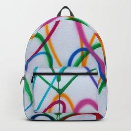 Multicoloured Love Hearts Graffiti Repeat Pattern Backpack