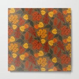 Falling Leaves Pattern II Metal Print