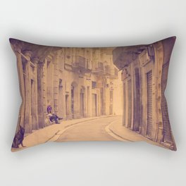 The dog in the narrow street of Barcelona Rectangular Pillow