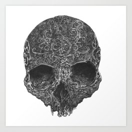 curved drawing skull Art Print