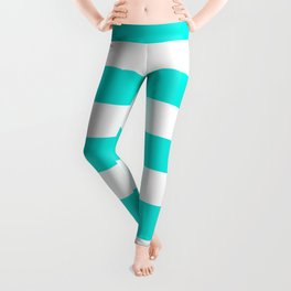 Bright turquoise - solid color - white stripes pattern Leggings