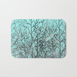 Hand painted teal black gray watercolor trees Bath Mat