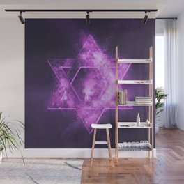 Magen David symbol, Star of David. Abstract night sky background. Wall Mural