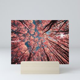 Upward Glance Living Coral Trees Blue Sky Mini Art Print