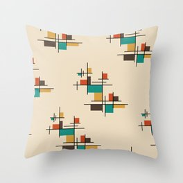 Mid Century Modern Geometric Colorful Throw Pillow