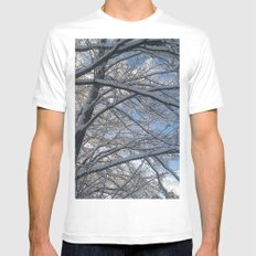 Snow-decorated trees Mens Fitted Tee MEDIUM White