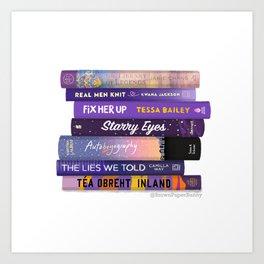 Purple Book Stack Art Print