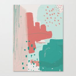 Mint Teal Blush Pumpkin Decorative Abstract painting -2, Colour Symphony abstraction, Canvas Print