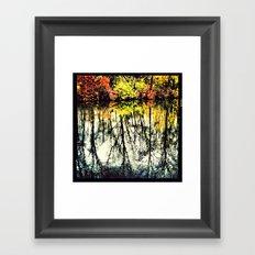 Fall Mirror Image Tree's Reflections Framed Art Print