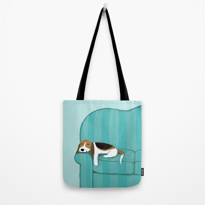Happy Couch Beagle Tote Bag