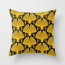 Art Deco Gold Palm Fan Pattern Throw Pillow