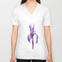 iris V-neck T-shirts featuring Iris by Lynn Bolt