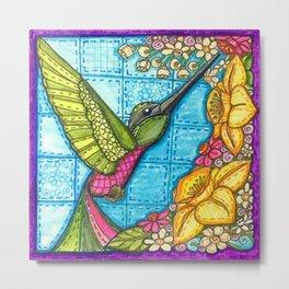 Hummingbird Quilt Square Metal Print
