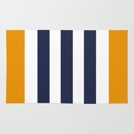 Stylish Classy Navy Blue Orange STRIPES Rug