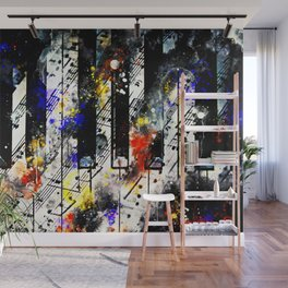 piano keys and music sheet pattern wsstd Wall Mural