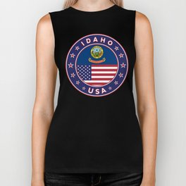 Idaho, Idaho t-shirt, Idaho sticker, circle, Idaho flag, white bg Biker Tank