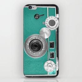 Teal retro vintage phone iPhone Skin
