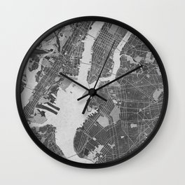 Vintage map of New York City in gray Wall Clock