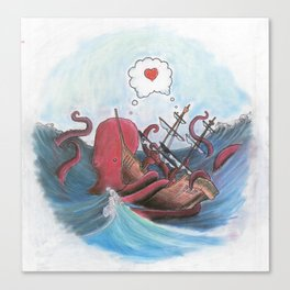 Octopus and Pirate Ship in Love Canvas Print