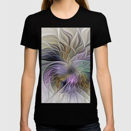 Abstract Flower, Colorful Floral Fractal Art T-shirt